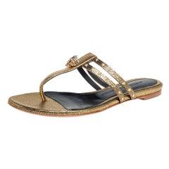 Alexander McQueen Metallic Gold Embellished Skull Thong Flat Sandals Size 37.5