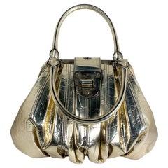 Alexander McQueen Metallic Gold Embossed Elvie Bag
