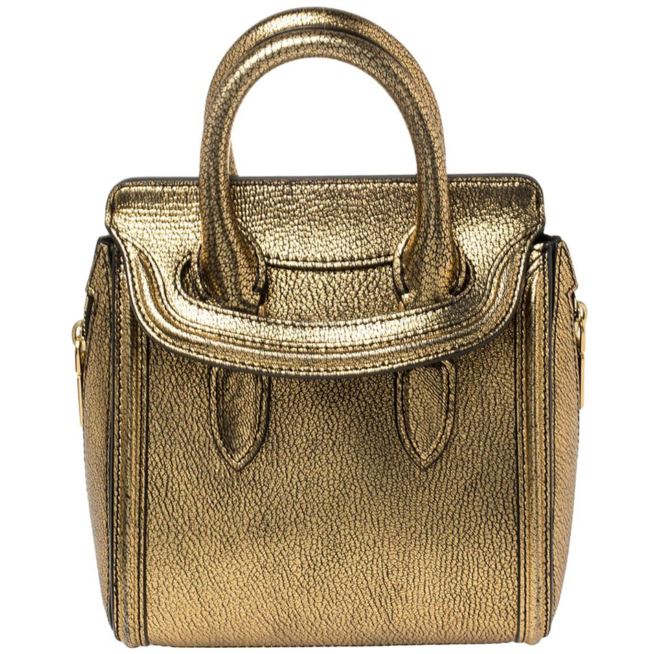 Alexander McQueen Metallic Gold Leather Mini Heroine Bag