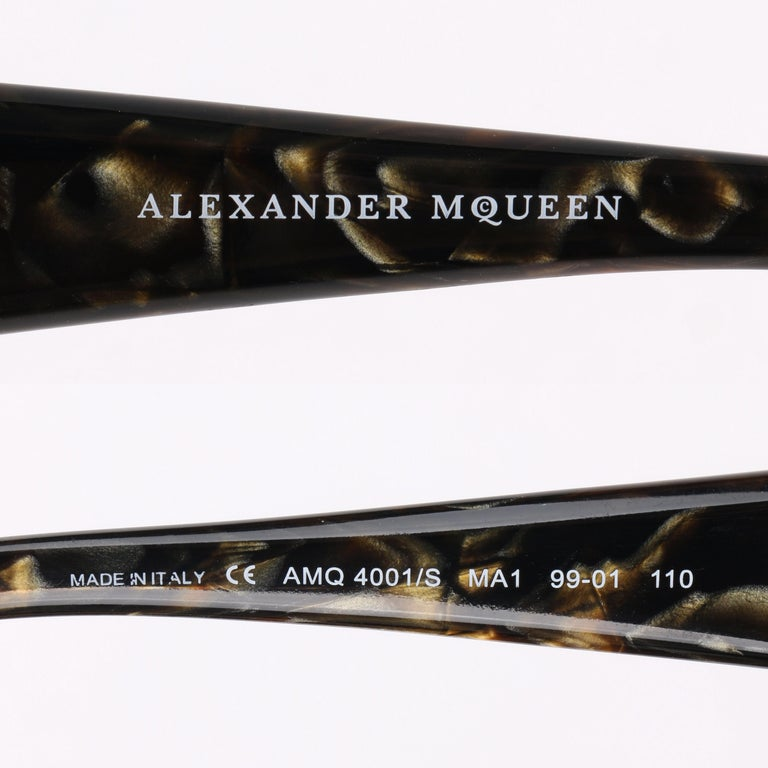ALEXANDER McQUEEN Metallic Gold Tortoise Shell Shield Sunglasses 4001/S For Sale 5