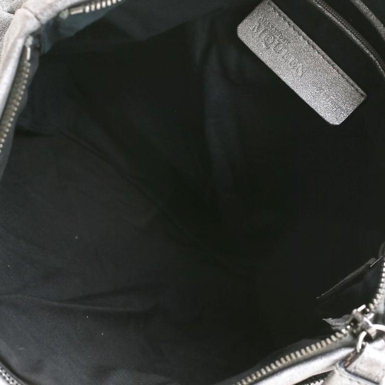 Alexander McQueen Metallic Grey Textured Leather Wristlet Clutch For Sale 7