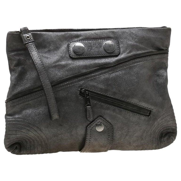 Alexander McQueen Metallic Grey Textured Leather Wristlet Clutch For Sale
