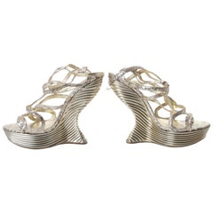 Alexander McQueen Metallic Python Oyster Shell Wedge Pumps sz 10