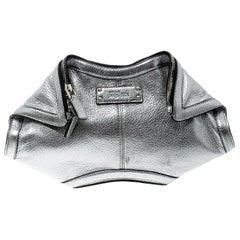 Alexander McQueen Metallic Silver Leather Small De Manta Clutch