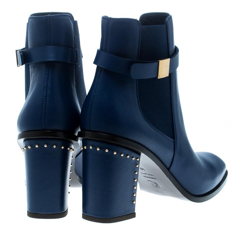Black Alexander McQueen Midnight Blue Leather Studded Heel Ankle Boots Size 40 For Sale
