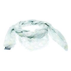 Alexander McQueen Mint Blue Skull and Roses Print Fringed Edge Scarf