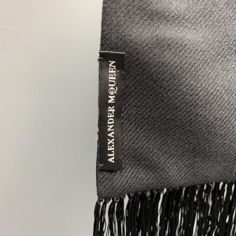 ALEXANDER MCQUEEN Mixed Fabrics Black Silk Scarf For Sale 2