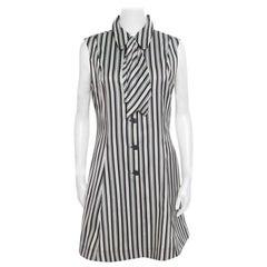 Alexander McQueen Monochrome Striped Detachable Neck Tie Detail Sheath Dress L
