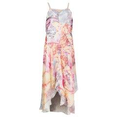 ALEXANDER MCQUEEN multi silk chiffon PIN UP PRINT Dress 42