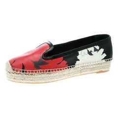 Alexander McQueen Multicolor Print Leather Espadrille Platform Loafers Size 40