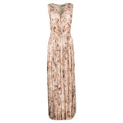 Alexander McQueen Multicolor Printed Ruched Drape Detail Sleeveless Maxi Dress M