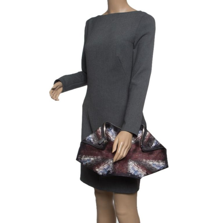 Women's Alexander McQueen Multicolor Satin Medium De Manta Clutch For Sale