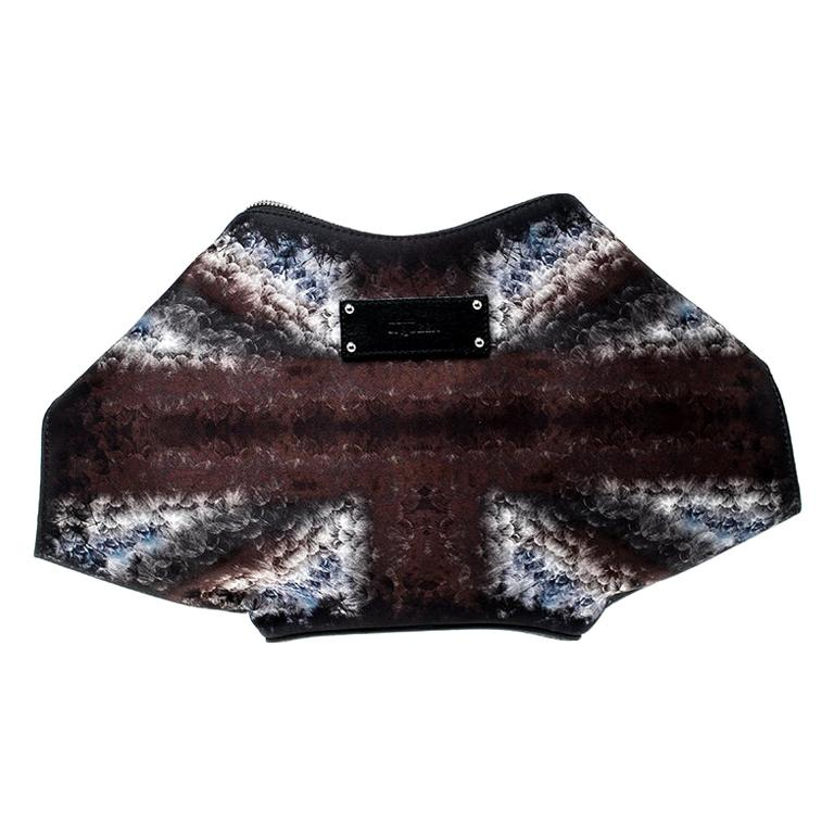 Alexander McQueen Multicolor Satin Medium De Manta Clutch For Sale
