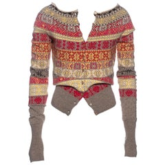 Alexander McQueen multicoloured knitted wool cardigan, fw 2005