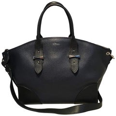 Alexander McQueen Navy and Black Leather Legend Satchel Tote Handbag