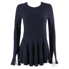 ALEXANDER McQUEEN Navy Blue Cashmere Knit Peplum Sweater