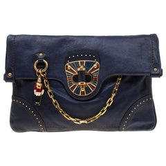 Alexander McQueen Navy Blue Flappy Leather Clutch