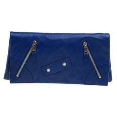 Alexander McQueen Navy Blue Leather Faithful Glove Clutch