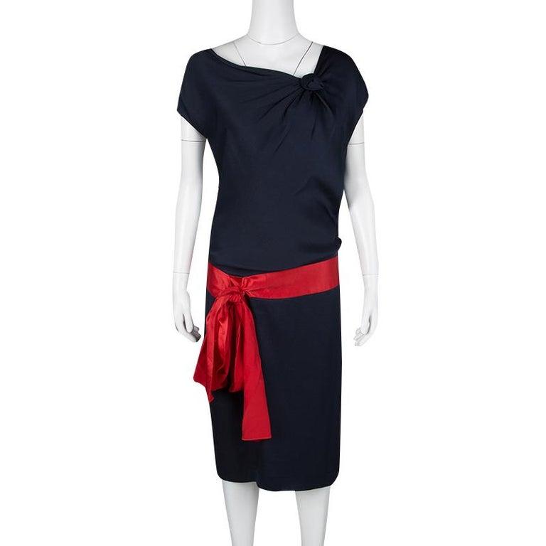 Black Alexander McQueen Navy Blue Silk Draped Contrast Tie Detail Sleeveless Dress M For Sale