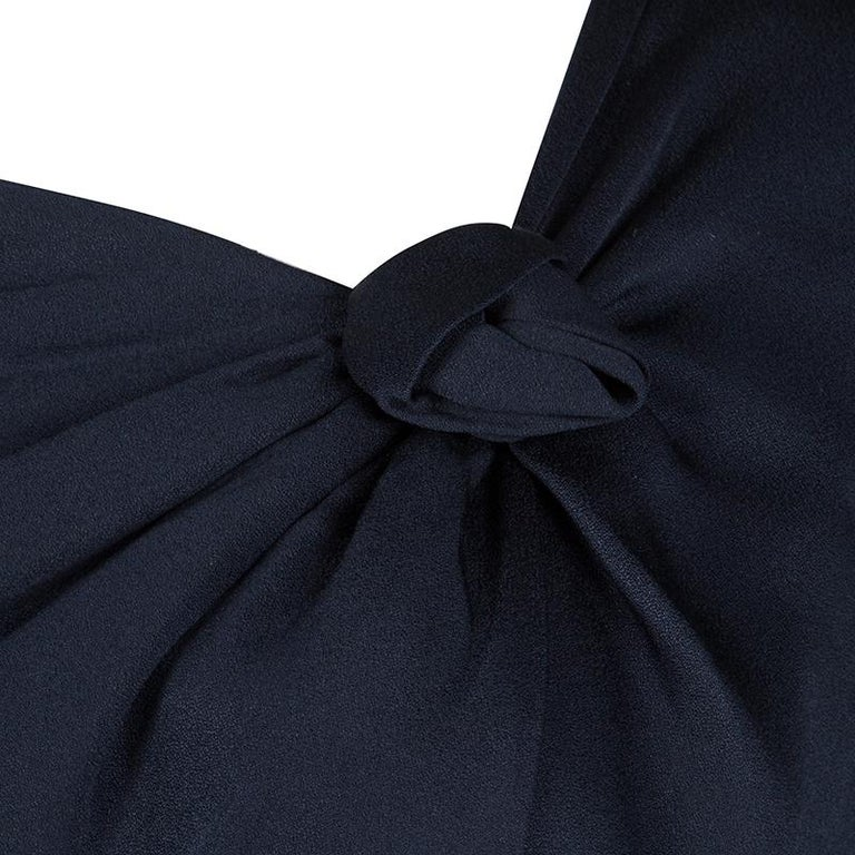 Alexander McQueen Navy Blue Silk Draped Contrast Tie Detail Sleeveless Dress M In Good Condition For Sale In Dubai, AE
