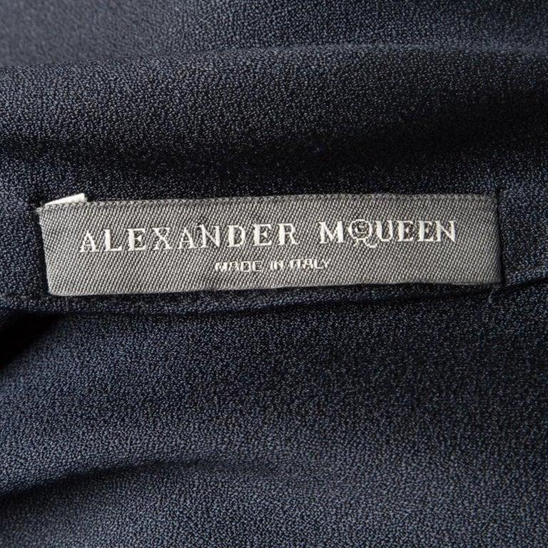 Women's Alexander McQueen Navy Blue Silk Draped Contrast Tie Detail Sleeveless Dress M For Sale