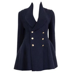 Alexander McQueen navy blue wool blend WIDE COLLAR DOUBLE-BREASTED Jacket M