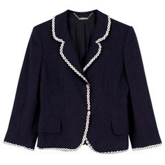 Alexander McQueen Navy Buttoned Blazer - Size US 4