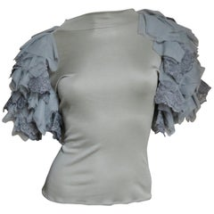 Alexander McQueen Net Sleeve Silk Top 1999