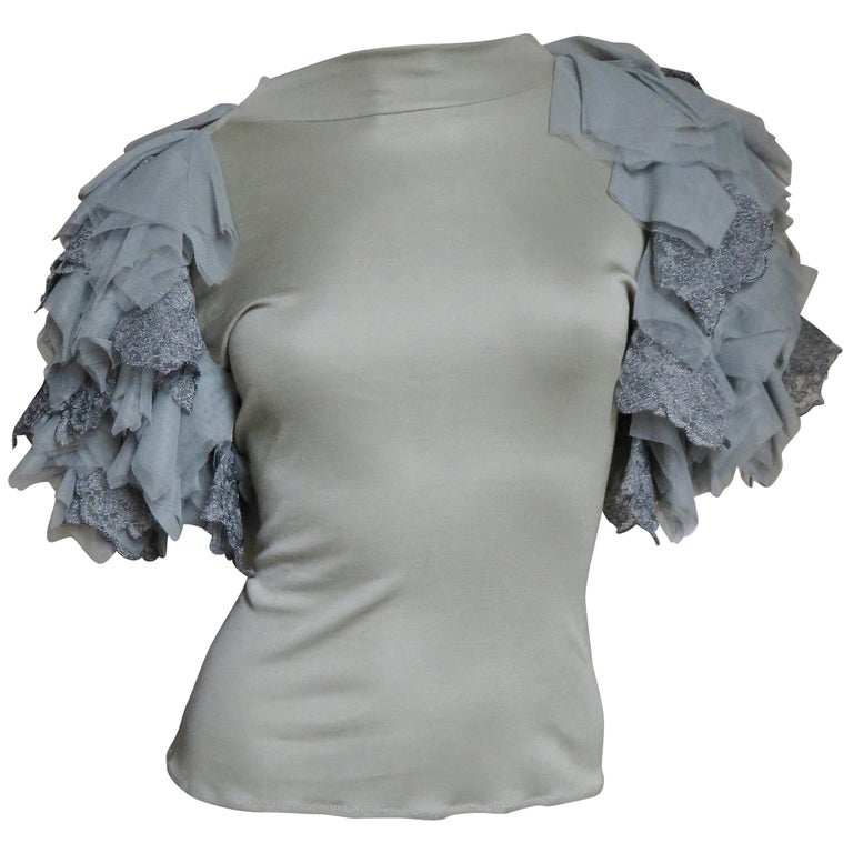 Alexander McQueen Net Sleeve Silk Top 1999 For Sale