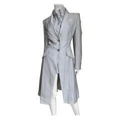 Alexander McQueen New 1999 Silk Shirt and Long Jacket