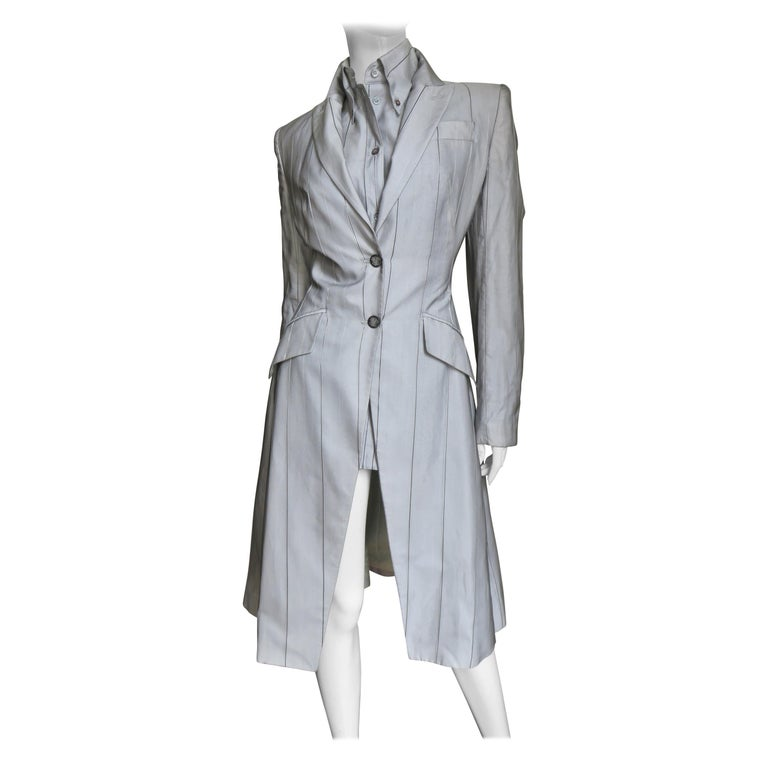 Alexander McQueen New 1999 Silk Shirt and Long Jacket For Sale