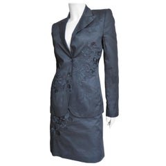 Alexander McQueen New 2002 Embroidery Black Skirt Suit and White Skirt