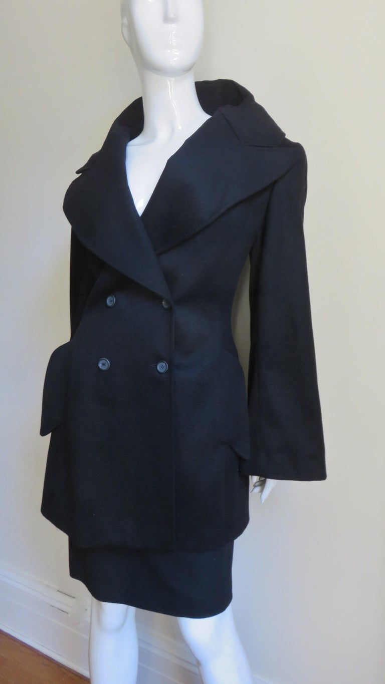 Black Alexander McQueen New Cashmere Jacket and Skirt A/W 1999 For Sale