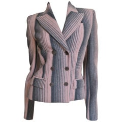 Alexander McQueen New Grey and Pink Striped Jacket F/W 1999