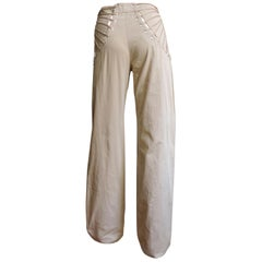 Alexander McQueen New Khaki Pants with Hip Lacing SS 1999