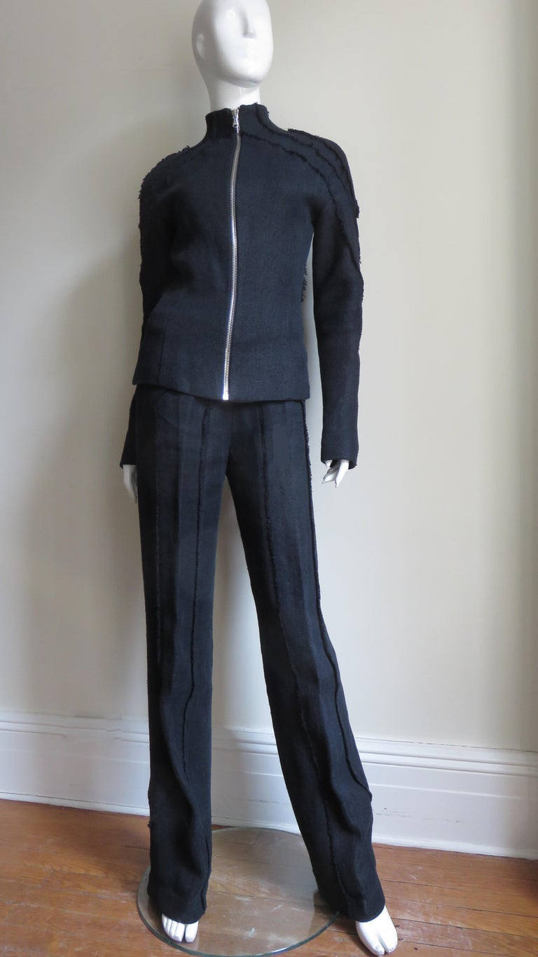 Black Alexander McQueen New Seamed Jacket and Pants A/W 1999 For Sale