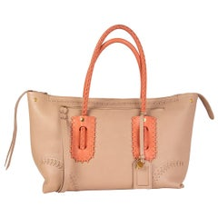 ALEXANDER MCQUEEN nude & coral leather FOLK WHIPSTITCH MEDIUM Tote Bag
