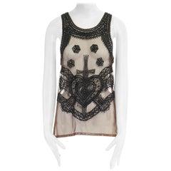ALEXANDER MCQUEEN nude mesh black bead crucifix heart embellished vest top