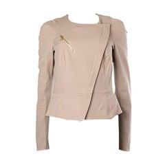 ALEXANDER MCQUEEN nude pink cotton BIKER Jacket 42
