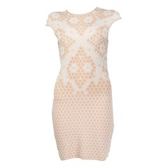 ALEXANDER MCQUEEN nude pink JACQUARD KNIT BODYCON Sleeve Dress S