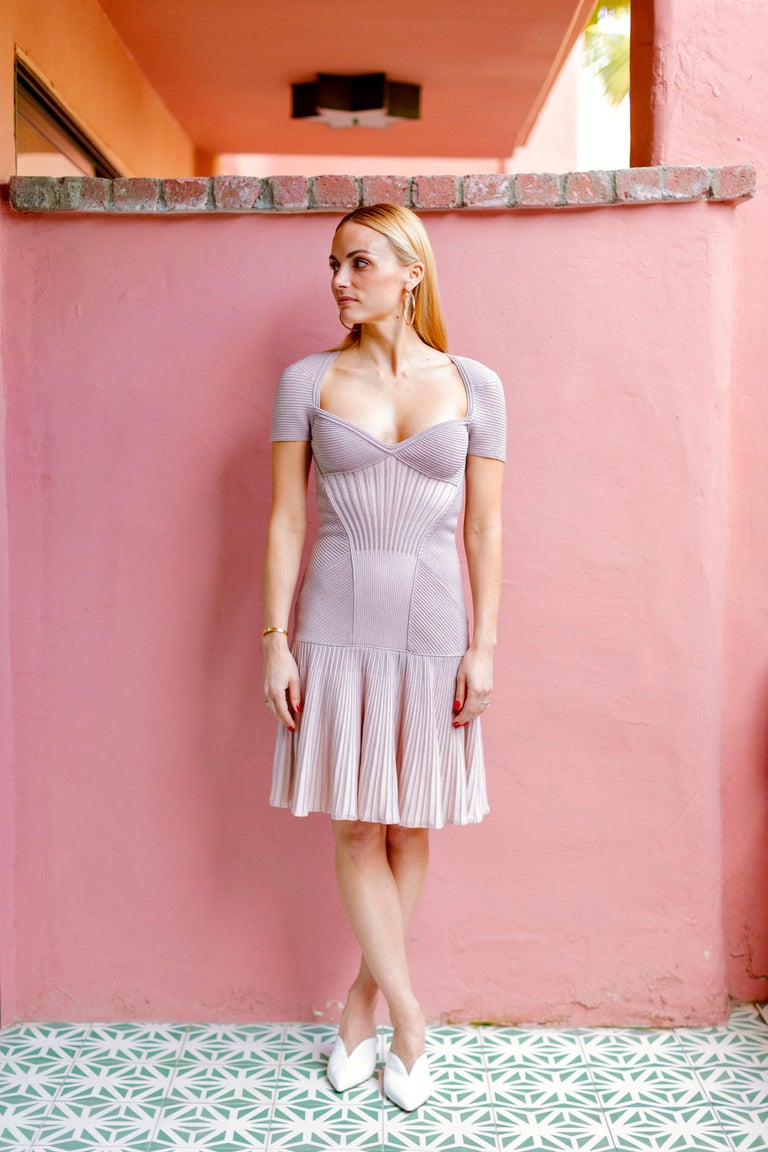 Alexander McQueen Dusty Rose Cap Sleeve Cocktail Dress . Never Worn - Tags Attached.  Figure Hugging. Sweetheart neckline, with cap sleeves.  Light Pink with metallic threading which looks rose gold in some lights and dusty rose in others (see