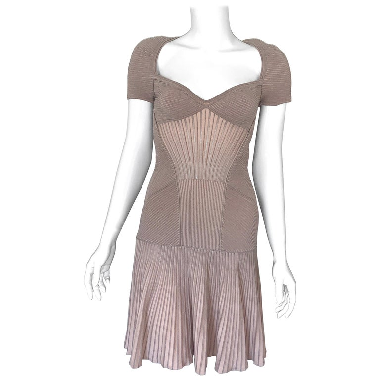 Alexander McQueen NWT Dusty Rose Cap Sleeve Cocktail Dress  For Sale