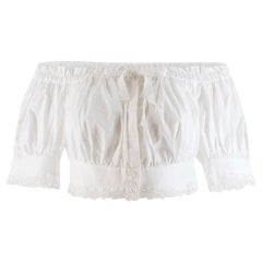 Alexander McQueen Off Shoulder White Broderie Anglaise Crop Top - Size US8