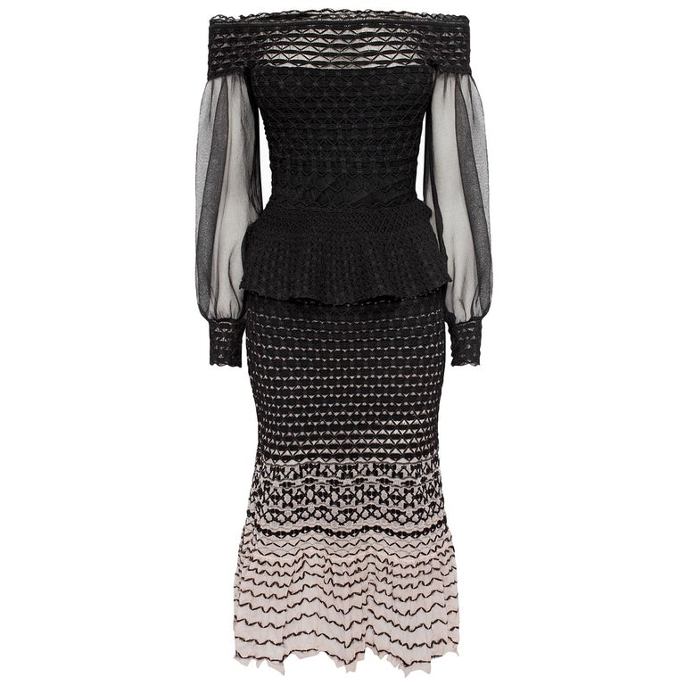 Alexander McQueen Off-the-Shoulder Knitted Dress  For Sale