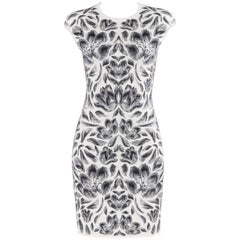 ALEXANDER McQUEEN Off White Navy Floral Intarsia Jacquard Knit Bodycon Dress