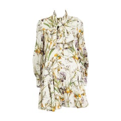 ALEXANDER MCQUEEN off-white silk FLORAL Long Sleeve PUSSY BOW Dress 40