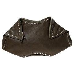 Alexander McQueen Olive Green Leather Medium De Manta Clutch