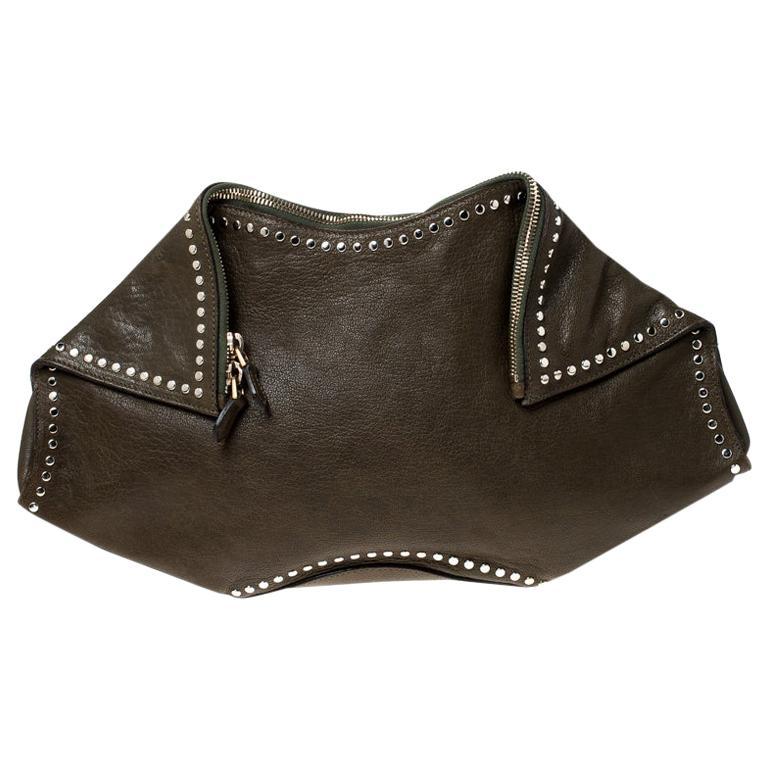 Alexander McQueen Olive Green Leather Medium De Manta Clutch For Sale