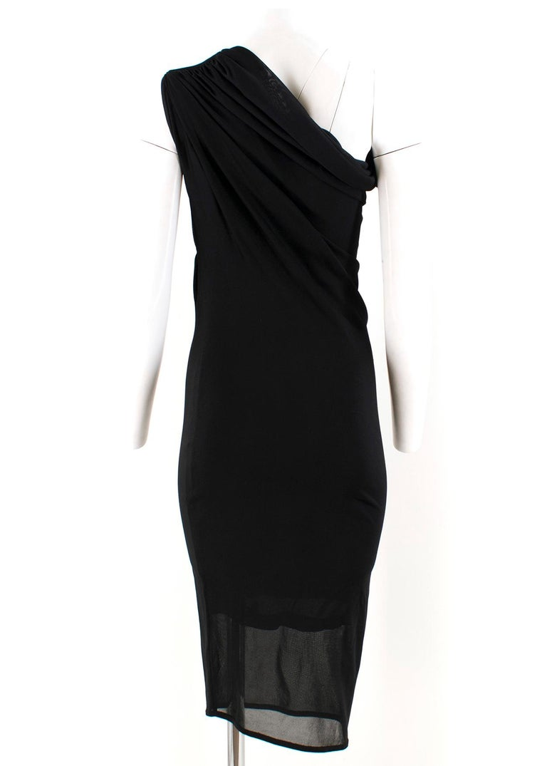 Black  Alexander McQueen one-shoulder midi dress US 4 For Sale