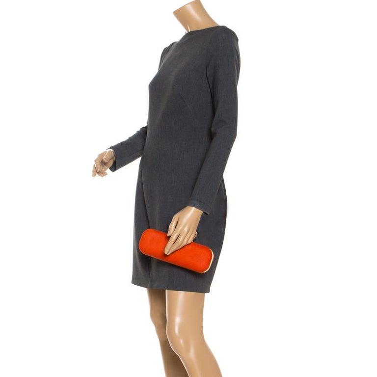 Alexander McQueen Orange Calfhair Skull Knuckle Box Clutch In Good Condition For Sale In Dubai, Al Qouz 2